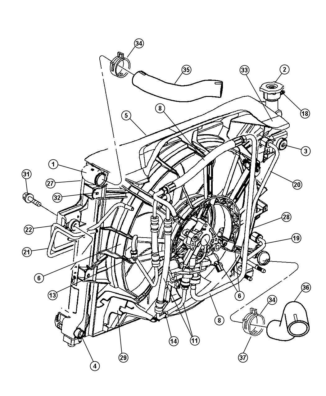 2002 jeep grand cherokee fan module  shroud  solenoid