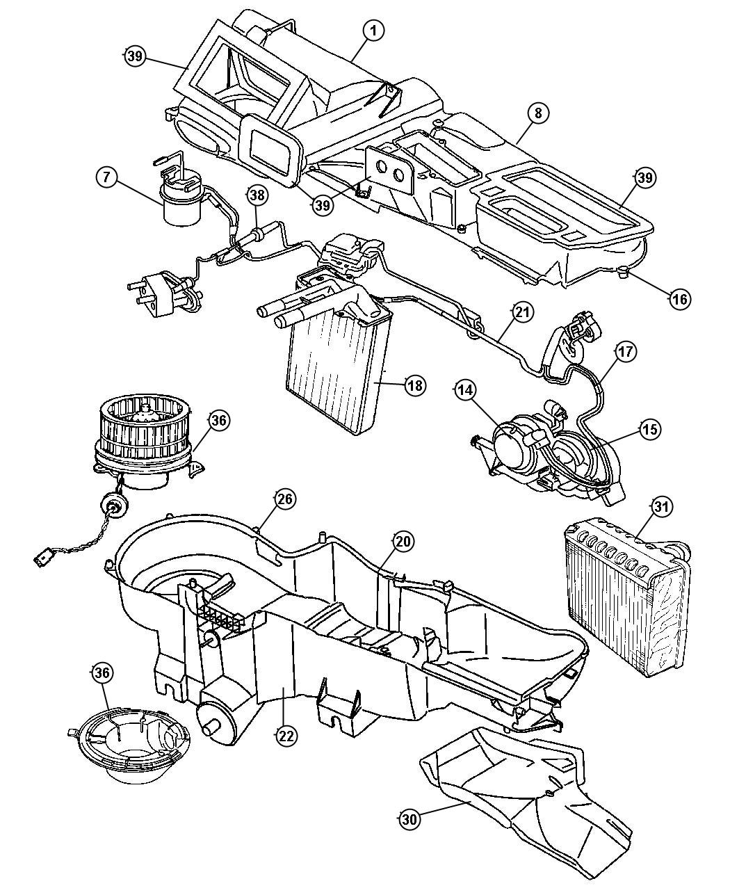 2005 jeep liberty core  heater  heater kit  heater core